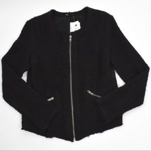 Drew Boucle Zip Black Jacket w/ Metallic Threads